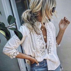 Boho lace crochet blouse